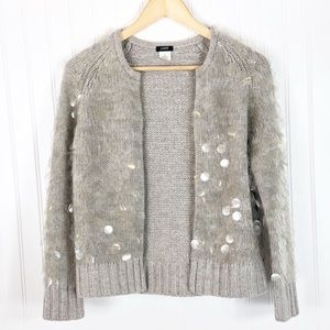 J. Crew Gray Clear Spangle Wool Cashmere Cardi